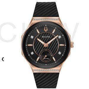 NEW Bulova Curv watch ref 98R239 diamonds black